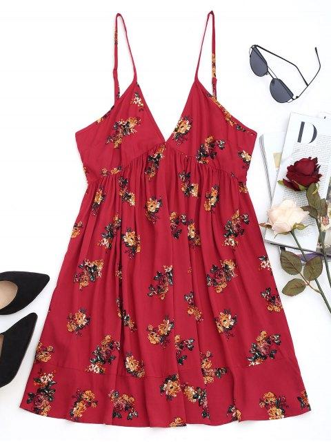 Mini vestido floral Shift - Rojo oscuro XL Mobile