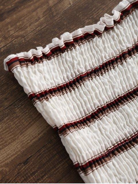 affordable ZAFUL Smocked Stripes Tube Top - WHITE S Mobile