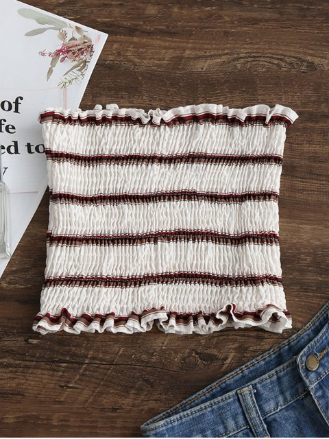 affordable Smocked Stripes Tube Top - WHITE S Mobile
