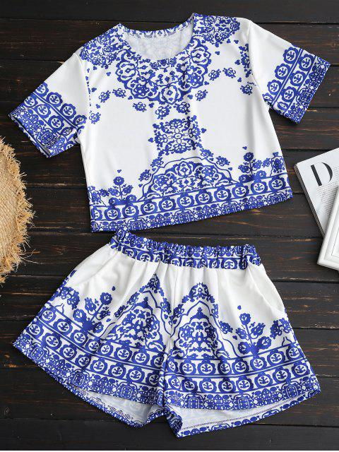 online Printed Crop Top and Shorts Set - WHITE XL Mobile