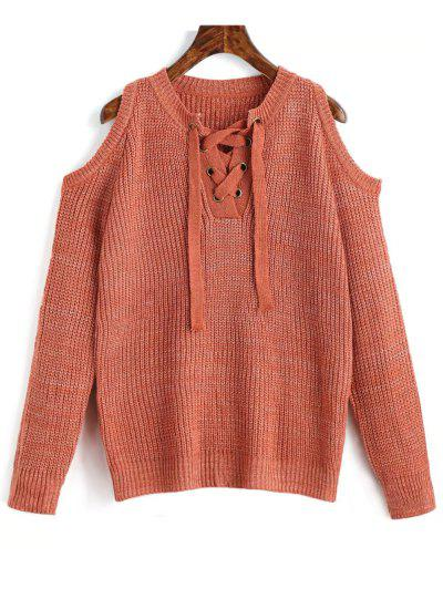 Lace Up Cold Shoulder Chunky Sweater - Orangepink