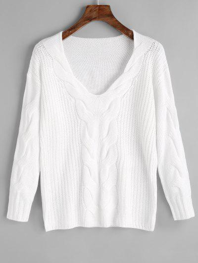 Pullover V Neck Cable Knit Sweater - White L