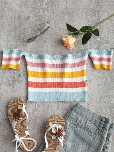 Off Shoulder Striped Crop Knitted Top - Multi