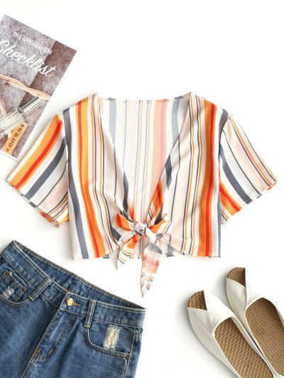 Cropped Tied Striped Top - Stripe S