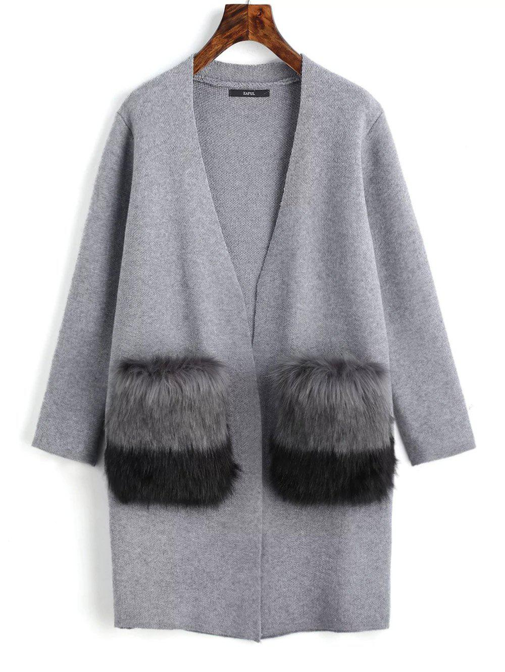 Faux Fur Pockets Open Front Cardigan 232939901
