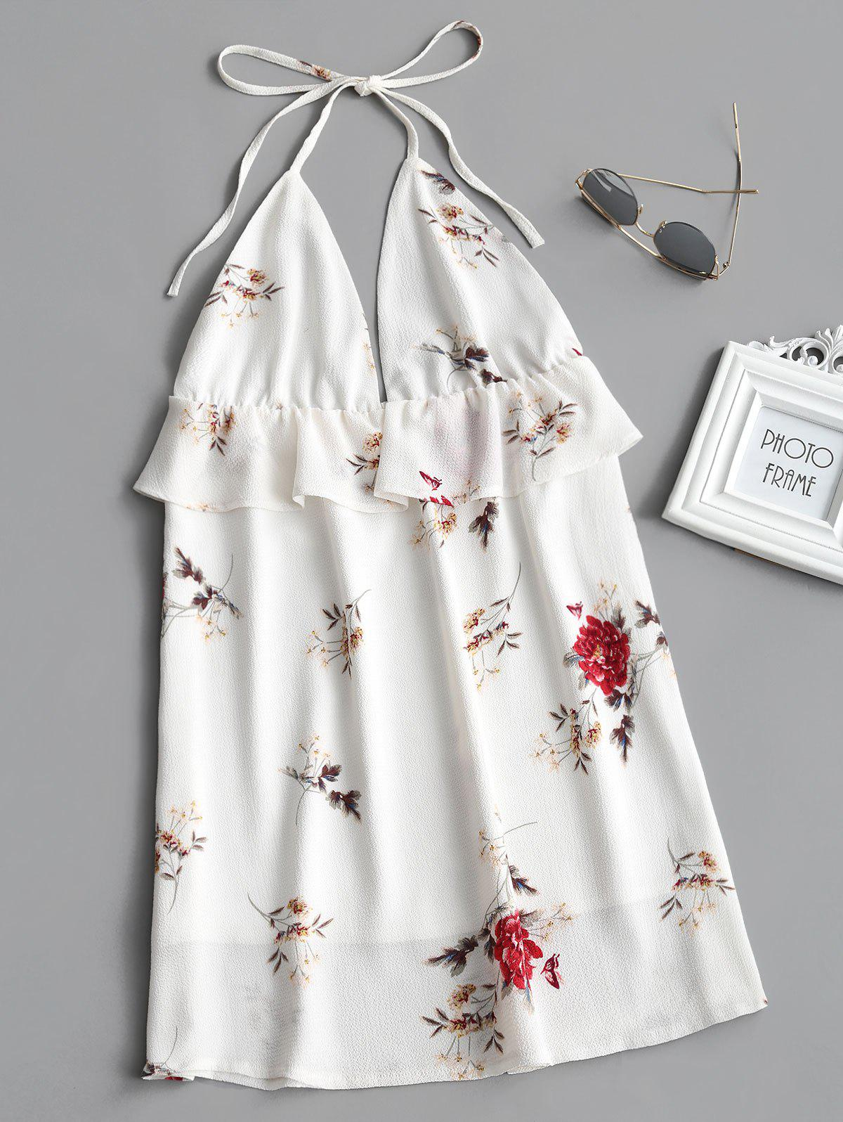 Floral Print Flounce Backless Halter Dress 244058702