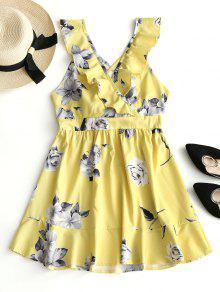 فستان مصغر طباعة الأزهار كشكش  - الأصفر S
