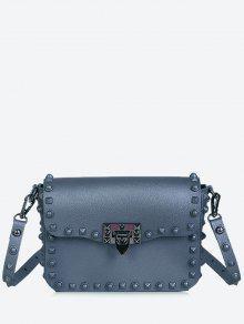 حقيبة كروسبودي مزينة بقطع معدنية - أزرق رمادي