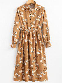 فستان كودري طباعة الأزهار كشكش الرقبة  - زنجبيل L