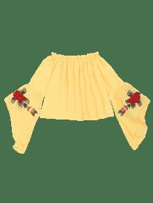 La Llamarada Amarillo Blusa Los De Volantes M De La Manga Floral Bordada De wqqP6xt10