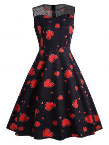 الدانتيل لوحة القلب طباعة خمر اللباس - الأحمر مع الأسود 2xl
