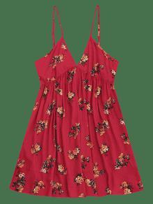 Rojo L Vestido Mini Floral Shift Oscuro q160O7w0