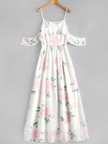 فستان ماكسي كامي كشكش طباعة الأزهار - أبيض S