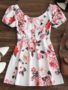 فستان مصغر توهج طباعة الأزهار بنصف الزر - أبيض M
