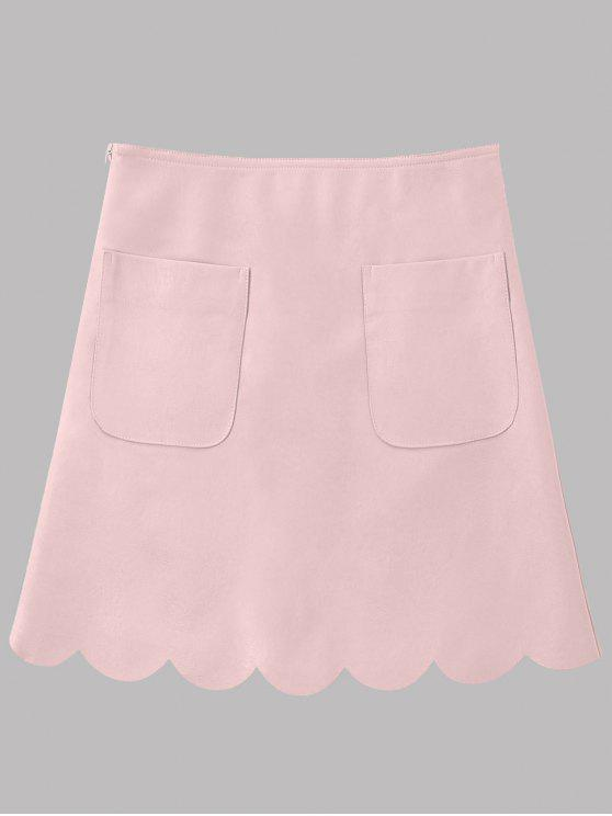 chic Faux Leather Scalloped A-line Skirt - PINK 2XL