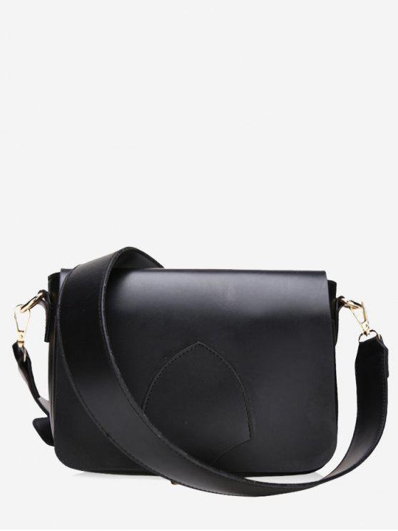 Bolso bandolera de imitación de cuero minimalista con solapa - Negro
