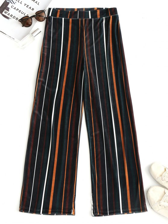 hot Striped Velvet Wide Leg Pants - STRIPE M