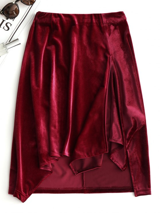 latest Slit Velvet Asymmetrical Skirt - WINE RED M