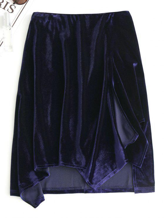 Slit Velvet Asymmetrical Skirt - Azul Arroxeado L