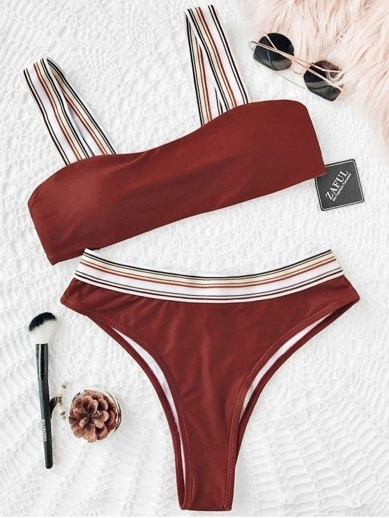 Conjunto de bikini de corte alto con rayas a rayas - Rojo ladrillo S