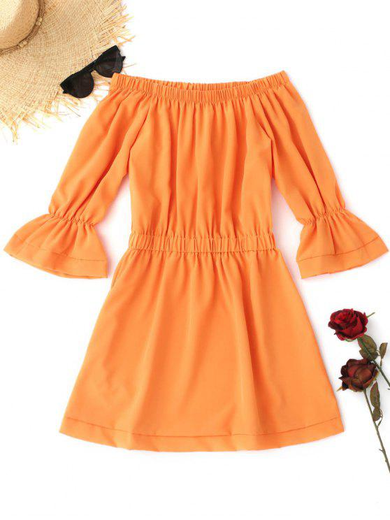 hot Off The Shoulder Flare Sleeve Dress - ORANGE L