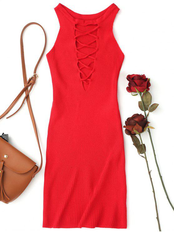 shop Sleeveless Knitting Lace Up Bodycon Mini Dress - RED ONE SIZE