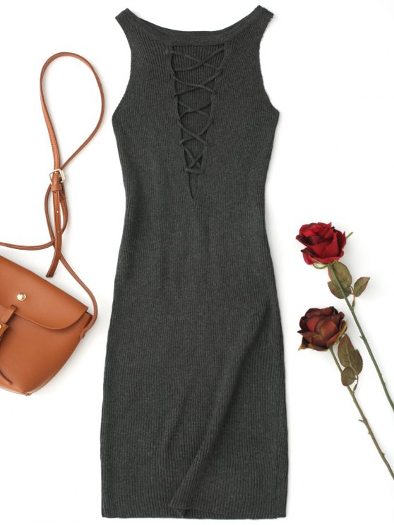 latest Sleeveless Knitting Lace Up Bodycon Mini Dress - DEEP GRAY ONE SIZE