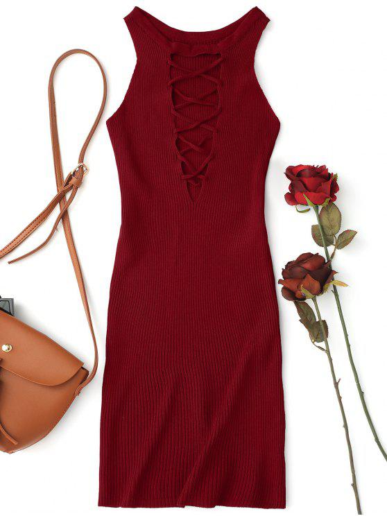 trendy Sleeveless Knitting Lace Up Bodycon Mini Dress - WINE RED ONE SIZE