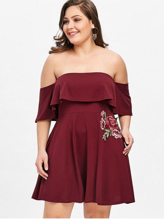 Applique Off Shoulder Plus Size Skater Dress WINE RED