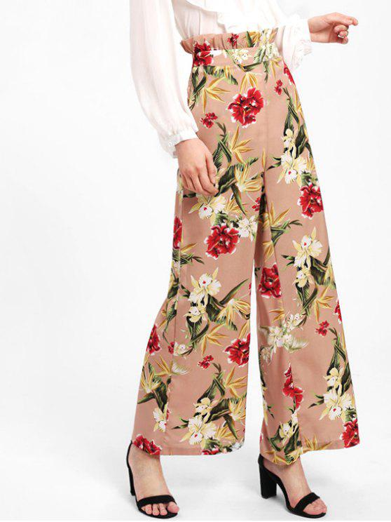 hot Ruffle Floral High Waisted Wide Leg Pants - NUDE PINK S