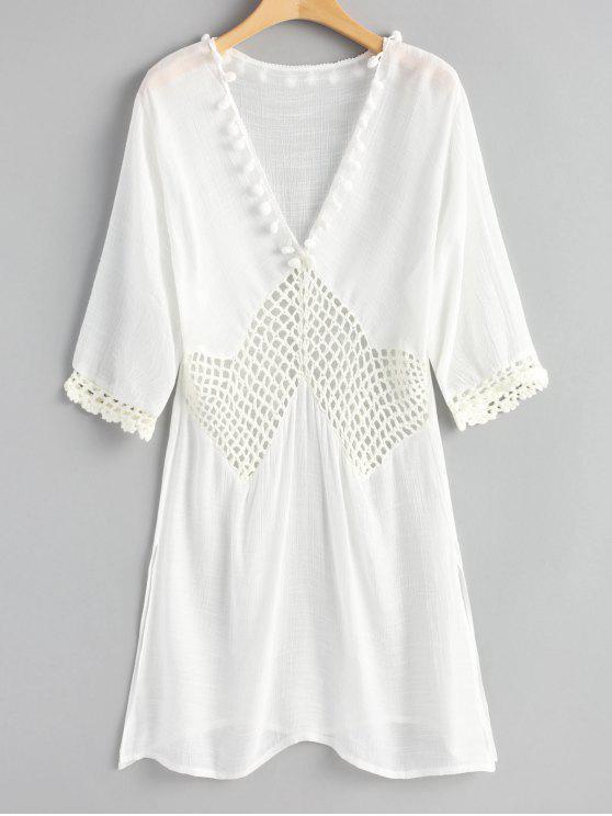 Pom Poms Crochet Panel Slit Cover Up Dress - Branco Um Tamanho