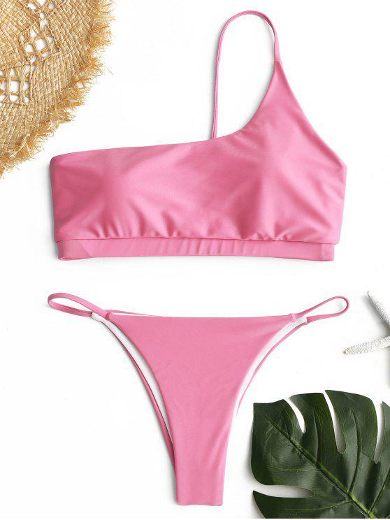 Ein Schulter Bikini Set - Pink S