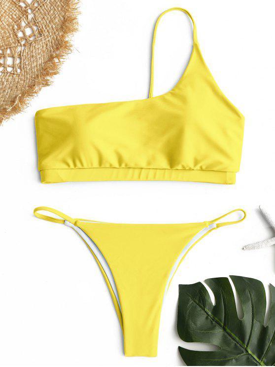 Ein-Schulter-Bikini-Set - Gelb S