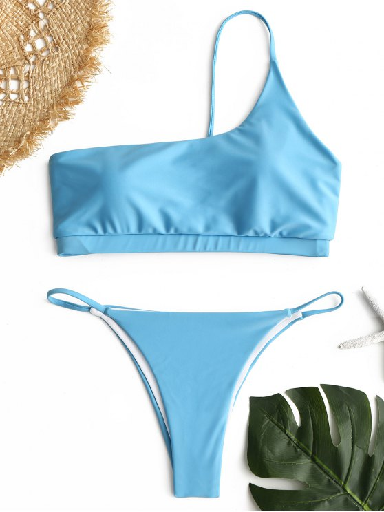 Ein Schulter Bikini Set - Helles Blau M