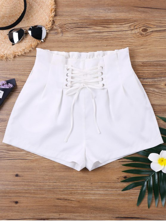 shops High Waist Lace Up Shorts - WHITE XL