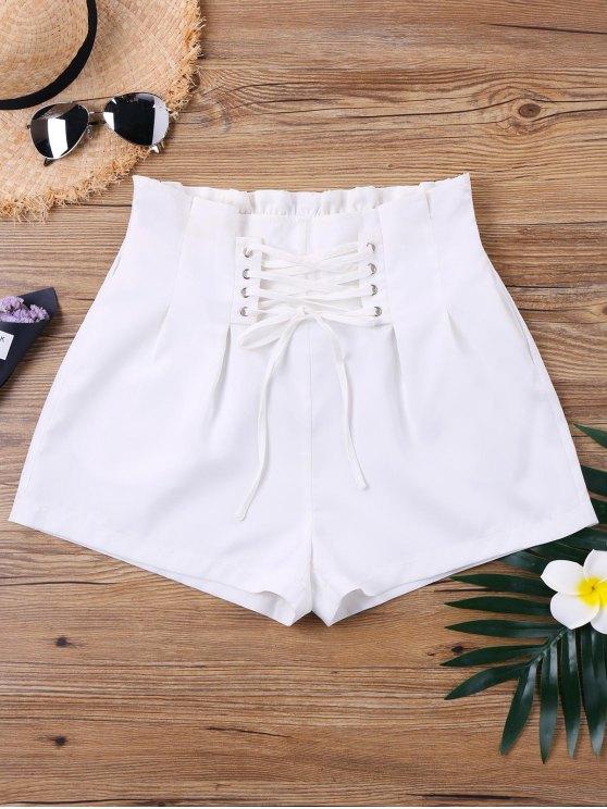 Calças de renda de cintura alta - Branco XL