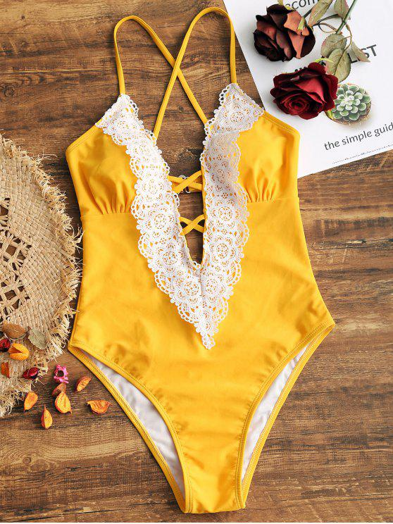 women Lattice Front Crochet Panel High Cut Swimwear - YELLOW XL