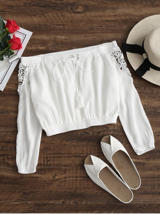 buy Tassels Cropped Off Shoulder Top - WHITE S