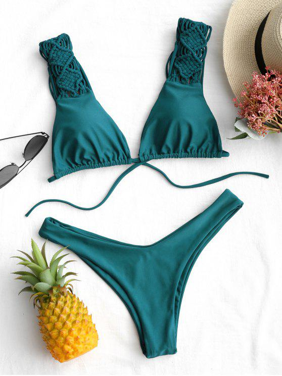 Schnürung Borte hohe geschnitten Bikini Set - Malachitgrün M
