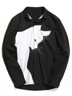 Color Block Cartoon Cat Shirt - Black 2xl