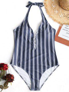 Plus Size Lattice Front Striped Swimwear - Stripe 2xl