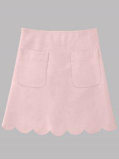 Faux Leather Scalloped A-line Skirt - Pink 2xl