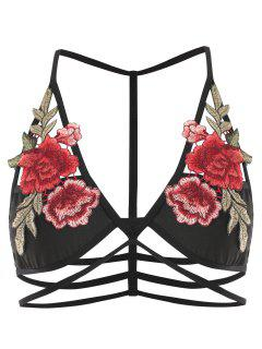 Riemchen Blume Applique Bralette - Schwarz M