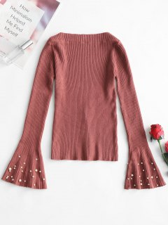 Slash Neck Beaded Flare Sleeve Knitted Top - Brick-red M