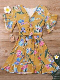 Mini Twist Floral Dress - Yellow S