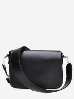 Flap Minimalist Faux Leather Crossbody Bag - Black