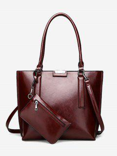 Back Zip Pocket Shoulder Bag With Wristlet - Wine Red