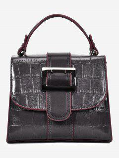 Belted Buckle Embossed Handbag - Gray