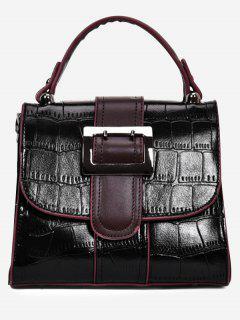Belted Buckle Embossed Handbag - Black