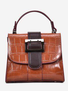 Belted Buckle Embossed Handbag - Brown